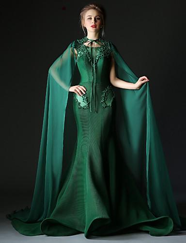Sereia Decorado com Bijuteria Cauda Corte Poliéster Tule Evento Formal Vestido com Detalhes em Pérolas de Huaxirenjiao
