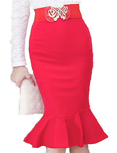 cheap Women's Skirts-Women's Work Plus Size Bodycon Skirts - Solid Colored Ruffle Ruffle Black Red S M L / Sexy / Slim