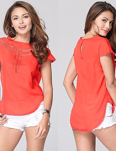 Feminino Camiseta Casual Tamanhos Grandes Simples Verão,Sólido Acrílico Poliéster Fibra Sintética Decote Redondo Manga Curta Fina