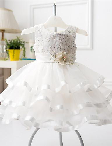 여자의 드레스 플로럴, 사계절 면 폴리에스테르 민소매 주름장식 화이트