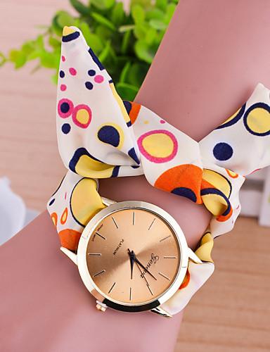 בגדי ריקוד נשים שעוני אופנה שעון צמיד קווארץ בד להקה צבעוני