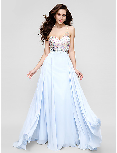 Linia -A Pe Umăr Mătura / Trenă Șifon Seară Formală Rochie cu Mărgele Detalii Cristal de TS Couture®