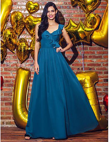 A-라인 V 넥 발목 길이 조젯 댄스 파티 / 포멀 이브닝 드레스 와 주름 으로 TS Couture®