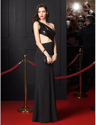 Sereia Assimétrico Longo Chiffon Paetês Baile de Fim de Ano Evento Formal Vestido com Lantejoulas de TS Couture®