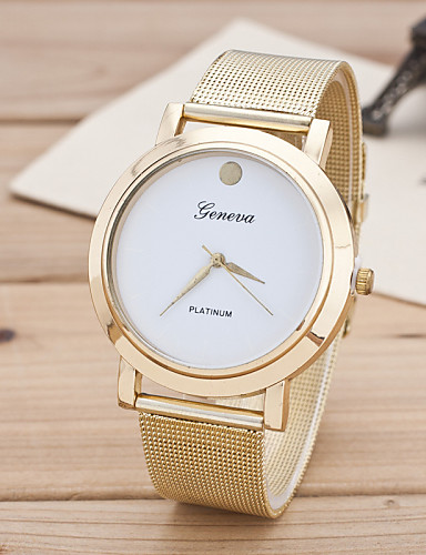 Mulheres Relógio de Moda Quartzo Lega Banda Dourada Branco Preto