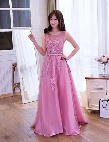 A-라인 환상 목걸이 바닥 길이 레이스 튤 댄스 파티 포멀 이브닝 드레스 와 레이스 으로 Embroidered Bridal
