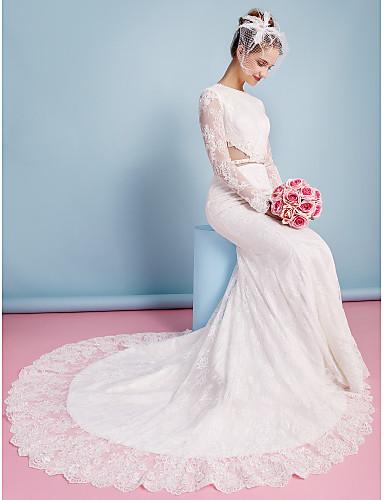 Trompette / Sirène Bijoux Traîne Chapelle Dentelle Robes de mariée personnalisées avec Billes Appliques Ceinture / Ruban par LAN TING