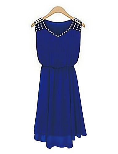 Damen Ausgehen Chiffon Swing Kleid - Perlenbesetzt, Solide Übers Knie V-Ausschnitt Blau