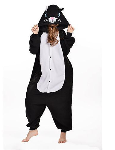 Adults  Kigurumi Pajamas Cat Onesie Pajamas Polar Fleece Black Cosplay For  Men and Women Animal Sleepwear Cartoon Festival   Holiday Costumes 67b3b15c3c3a4
