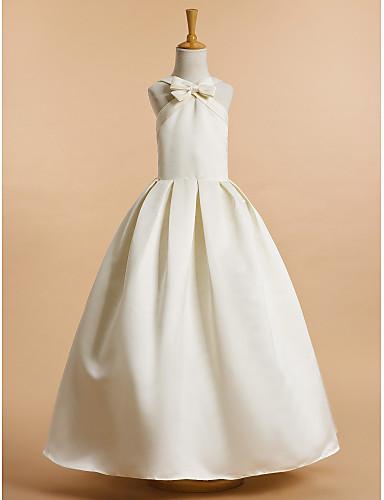 A-Linie Knöchel-Länge Blumenmädchenkleid - Satin Ärmellos V-Ausschnitt mit Schleife(n) durch LAN TING BRIDE®