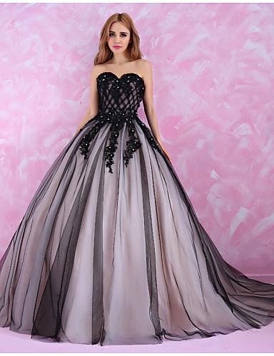 Princeza Vjenčanica Vjenčanice u boji Dugi šlep Srcoliki izrez Til s Perlice Ukriženo Kristal Čipka Uzorak