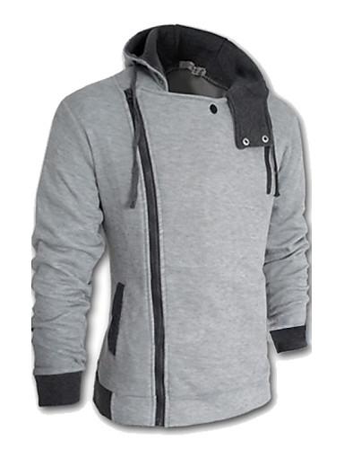 cheap Basic Hoodie Sweatshirts-Men's Plus Size Long Sleeve Hoodie Jacket - Solid Colored Wine 4XL