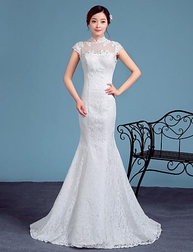 트럼펫 / 머메이드 하이 넥 코트 트레인 레이스 튤 웨딩 드레스 와 레이스 으로