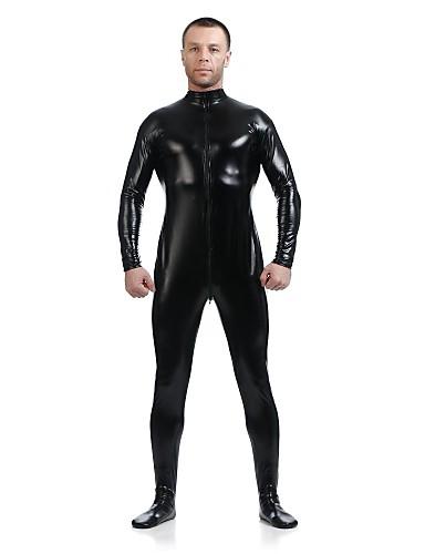 halpa Zentai-Kiiltävät Zentai asut Ihon puku Ninja Aikuisten Spandex Lateksi Cosplay-asut Sukupuoli Miesten Naisten Musta Yhtenäinen Halloween / Erittäin elastinen