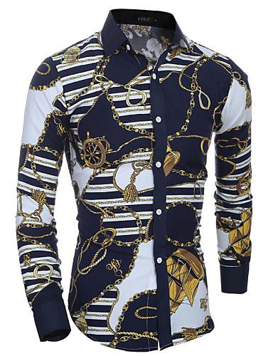 남성용 줄무늬 클래식 카라 슬림 프린트 - 셔츠, 보호 면