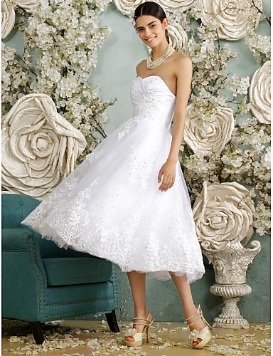 A-Şekilli Kalp Yaka Diz Altı Tül Boncuklama Aplik Düğme ile Düğün elbisesi tarafından LAN TING BRIDE®