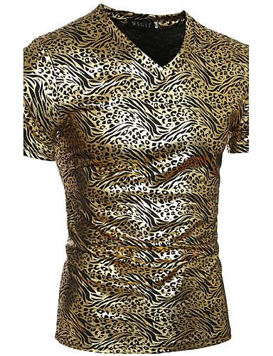 Tee-Shirt Pour des hommes Léopard Décontracté Manches Courtes Coton / Polyester Or
