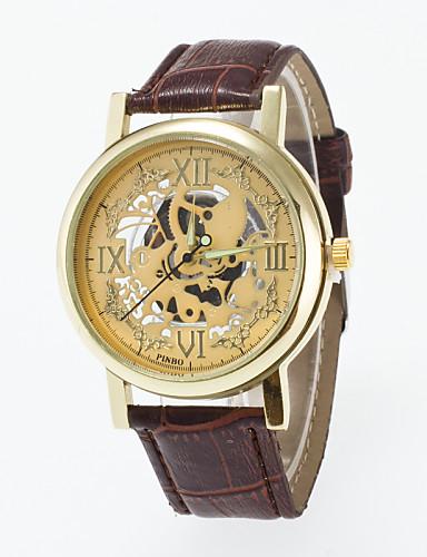 Homens Relógio de Pulso Relógio Esqueleto Quartzo / PU Banda Casual Preta Marrom