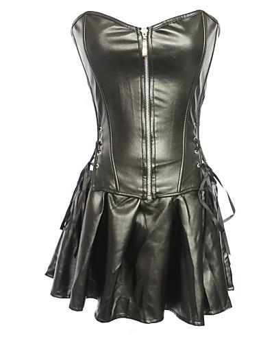 mulheres s-6xl strapless zipper lingerie shaper corset set preto mais tamanho