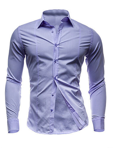 cheap Men's Shirts-Men's Daily Work Weekend Business Plus Size Cotton Slim Shirt - Solid Colored Basic Spread Collar Red L / Long Sleeve / Spring / Fall