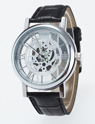 Homens Relógio Esqueleto Relógio de Pulso relógio mecânico Quartzo / PU Banda Casual Preta Marrom