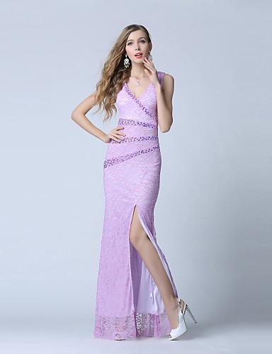 Sirena / truba v-neck duljina gležnja čipka tulle večernja haljina s beading