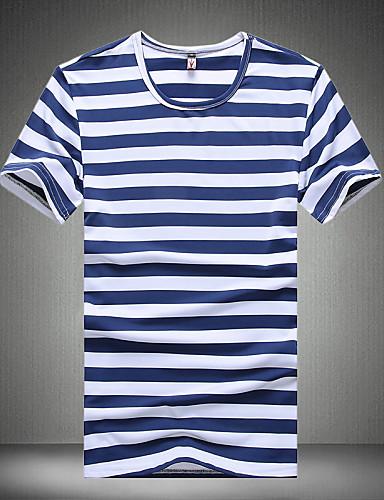 Masculino Camiseta Algodão / Poliéster / Elastano Listrado Manga Curta Casual / Escritório / Esporte / Tamanhos Grandes-Preto / Azul /