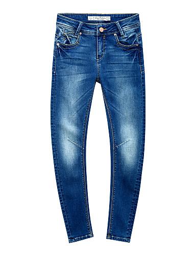 מטר / Bonwe נשים גיזרה בינונית (אמצע) ג'ינסים ציאן יום יומי מכנסיים-246557