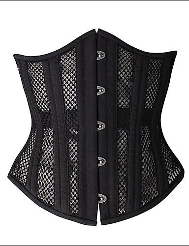 Для женщин Корсет под грудь / Большие размеры Ночное белье Однотонный Полиэстер / Спандекс / Вискозное волокно Черный Женский