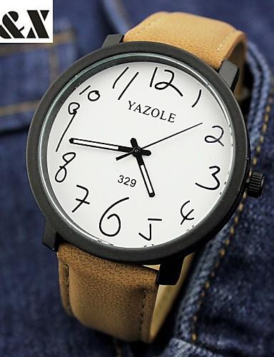 YAZOLE Masculino Relógio de Pulso Quartzo Couro Banda Preta Marrom Preto Marron