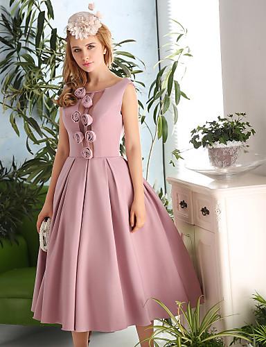 A-라인 국자 목 종아리 길이 새틴 태피터 칵테일 파티 댄스 파티 드레스 와 꽃패턴 으로