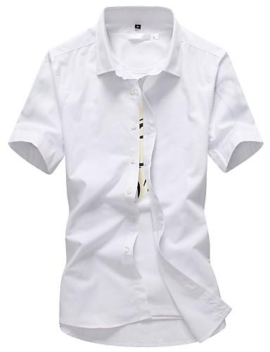 Pánské Jednobarevné Práce Jednoduché Košile-Všechna období Bavlna Kulatý Krátký rukáv Tenké