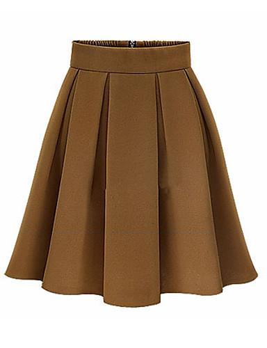 קיץ חצאיות מעל הברך פוליאסטר ספנדקס אחיד עבודה גזרת A וינטאג' מידות גדולות בגדי ריקוד נשים