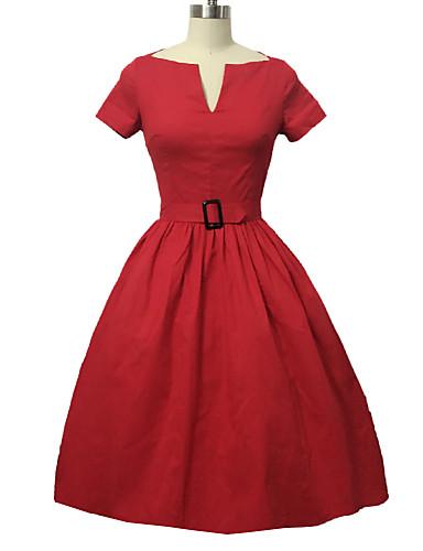 Žene Swing kroj Haljina - Naborano, Jednobojni V izrez