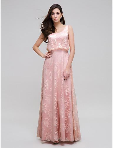 Sütun Yere Kadar Dantelalar Dantel ile Balo Resmi Akşam Elbise tarafından TS Couture®