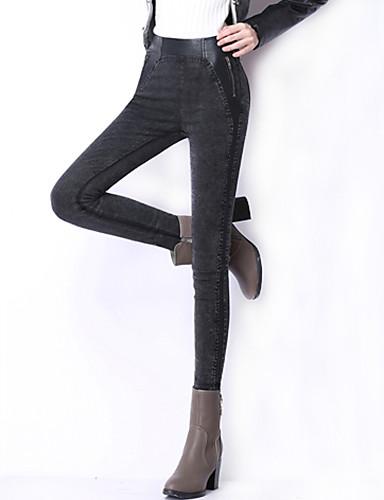 Mulheres Tamanhos Grandes Cintura Alta Justas/Skinny Jeans Calças Patchwork