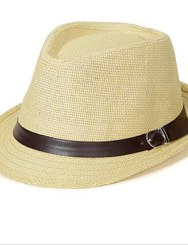 Uniseks Vintage Slatko Zabava Posao Ležerne prilike Proljeće Ljeto Lan Slamnati šešir Šešir za sunce Obala Bež Braon Krema Žutomrk
