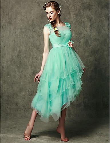 Asymmetrische Tüll lace-up Brautjungfer Kleid - a-line Schaufel mit Applikationen Blume (n)