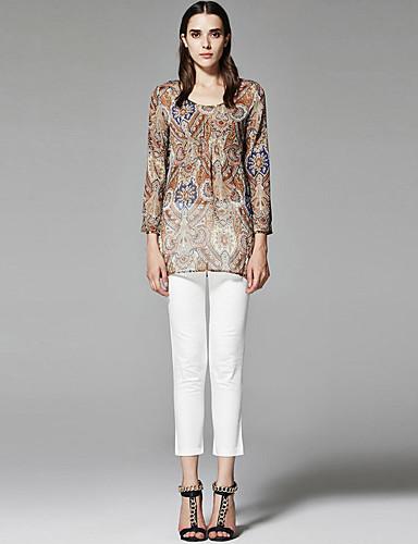 ZigZag® 여성 라운드 넥 긴 소매 셔츠 & 블라우스 베이지 - 11250