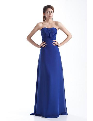 מעטפת \ עמוד סטרפלס עד הריצפה שיפון נשף ערב רישמי שמלה עם תד נשפך על ידי XFLS