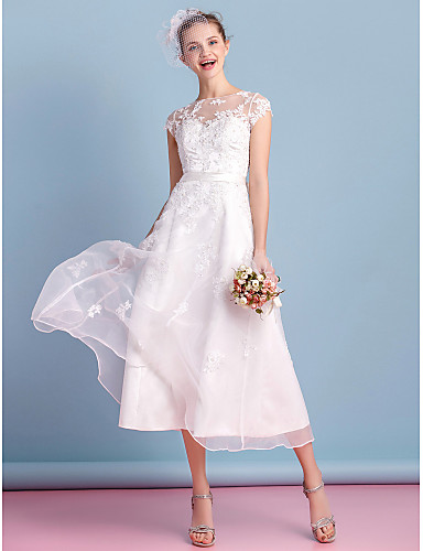 1cdf3782f6b A-Line Bateau Neck Tea Length Organza Made-To-Measure Wedding Dresses with  Bowknot   Appliques   Lace by LAN TING BRIDE®   Little White Dress    See-Through