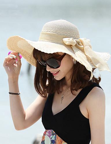 Feminino Chapéu de sol Feminino Casual Verão Palha