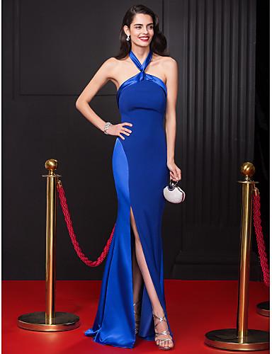 Sütun Boyundan Bağlamalı Yere Kadar Şifon Streç Saten Ayrık Ön ile Balo / Resmi Akşam Elbise tarafından TS Couture®