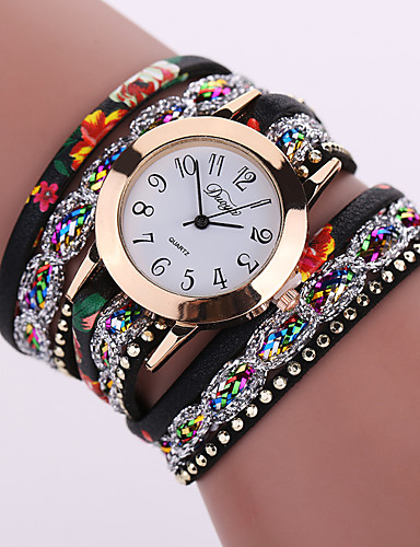 cheap Floral Watches-Women's Ladies Bracelet Watch Wrap Bracelet Watch Quartz Leather Black / White / Blue Casual Watch Analog Flower Fashion - Red Green Light Blue One Year Battery Life / Tianqiu 377