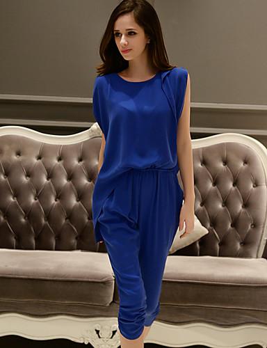 dabuwawa női kék színű jumpsuits, munka / alkalmi / nap kerek nyakú ujjatlan