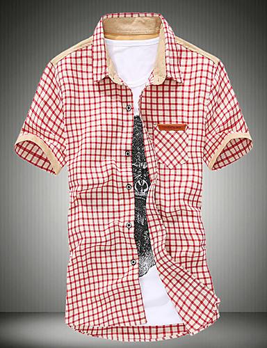 Herren Hemd-Verziert Freizeit Baumwolle Kurz