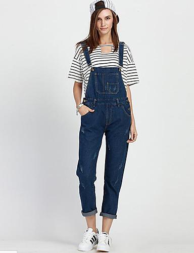 Damen Übergrössen Overall Jeans Hose Solide