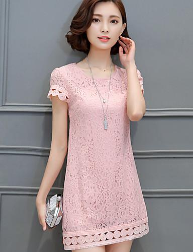 Damen Übergrössen Hülle Kleid Solide