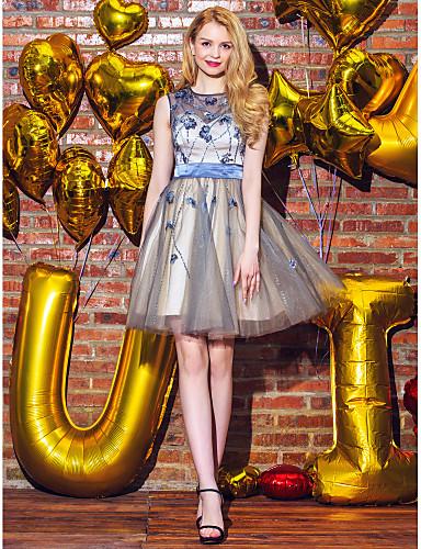 Baljurk Jewel Neck Short / Mini Tulle Prom Jurk Met Kralen Met Ts Couture®