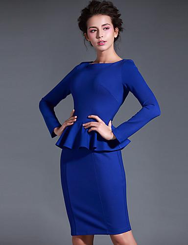 Baoyan® Női Kerek Hosszú ujjú Térd feletti Ruhák-14657